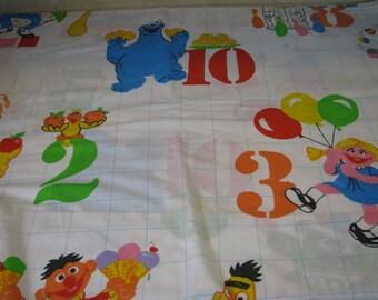 Vintage Sesame Street Numbers Kids Flat Twin Sheet Counting