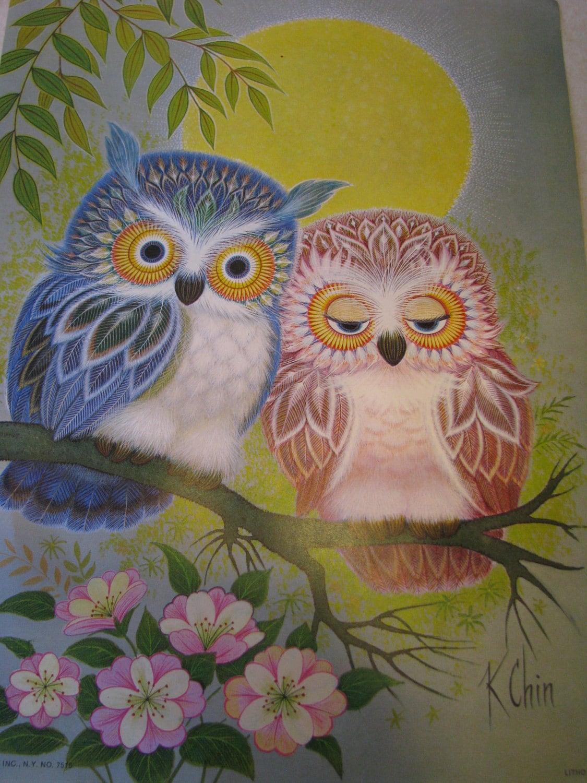 Vintage K Chin Love Birds Owl Litho Print 1973 Donald Art Co