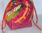 Quilted Patchwork Drawstring Project Bag or Purse - Square Bottom - OOAK