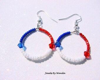 CLEARANCE - Patriotic Hoop Earrings