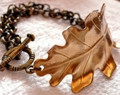 Oak Leaf Bracelet in Golden Brass with Antiqued Brass Chain by Cloud Cuckoo Land