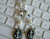 NAUTICAL Sailor Anchor Cameo Ear rings - Faux Pearls