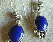 Silver Lapis Ball Earrings