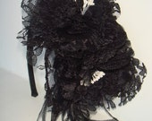 Headband, Flower Headband-Stella, Accessories, Hair Accessories, Couture, Black Feathers, Lace, Feathers