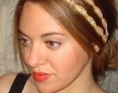 Rhinestone Headband, Double Headband, Bridal Headband, Holidays, Weddings, Quinceanera, Gold Headband, Bridal Headpiece, Grecian, ATHENA