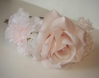 Ballerina Halo Headband, Flower Headband, Ballerina, Pink Flower Pale Headband, White Flowers, Accessories, Wedding, Bridal, Bridal, Hair
