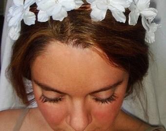 Weddings, white flower crown, headband, headpiece -LYLA, Flower Headband, Accessories, Bridal, Flower Girl, Halo Headband, White FLowers