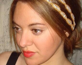 Rhinestone Headband, Double Headband, Bridal Headband, Weddings, Quinceanera, Gold Headband, Bridal Headpiece, Grecian, ATHENA