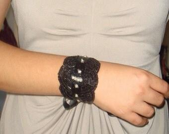 Cuff,  rhinestone cuff, rhinestone bracelet, bridal cuff, cuff bracelet- Sable, bridesmaid, avant guard, accessories, black cuff