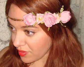 Flower Headband, Headband- JULIET, Halo Headband, Pink Flowers, Spring, Hair Accessories, Accessories, Crown Heaband, Weddings