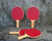Set of 4 Vintage Ping Pong Paddles