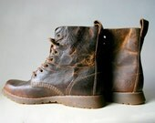 Rustic Patina Distressed Leather Lace Up Boots