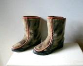 Vintage Siberian Tribal Faux Fur Boots size 9