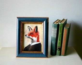 Reserved for Jessica - Custom Tesla As A Fox - Framed 5x7 Captaincat Original Art Print