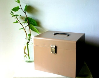 Mid Century Industrial Metal File Box