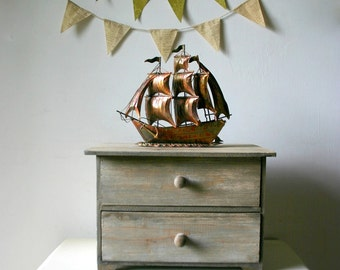 Vintage Patina Metal Galleon Ship Decor