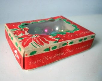 Antique Glass Christmas Tree Globes In Original Box