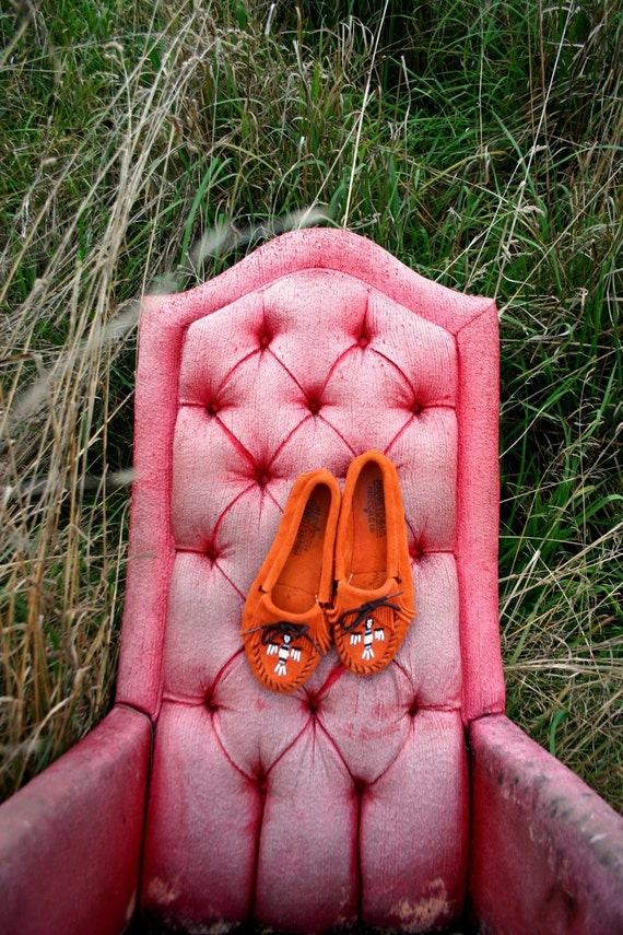 Indian Summer Beaded Orange Suede Moccasins womans size 7.5