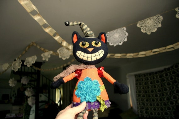 Lucy The Halloween Cat  Upcycled Art Doll