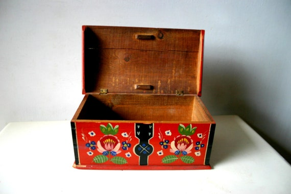 Old Russian Folkloric Hand Painted Wooden Box
