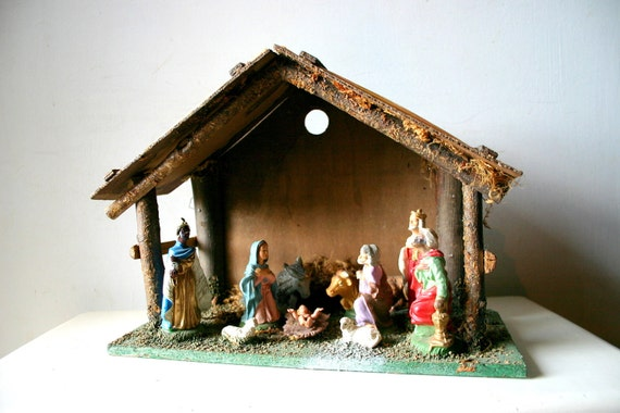 Vintage christmas decor classic nativity scene for Decoration creche noel