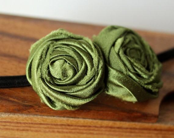 Avocado Green Fabric Flower Boho Style Elastic Headband