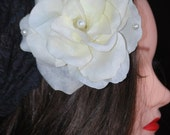 Pearls n Lace with Large Cream Rose Duo