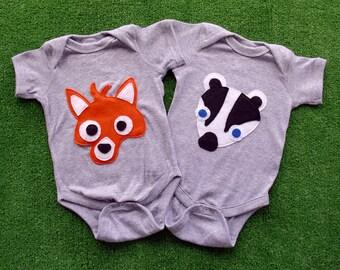 Kawaii Fox and Badger Infant Bodysuits Combo