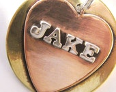 Pet ID Tag - Large Size - Your Pup's Name in Silver Letters - Handmade Pet Tag, Dog ID Tag
