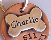 Charlie - Custom Pet ID Tag, Handmade Sterling Silver Dog Bone Tag For Dogs