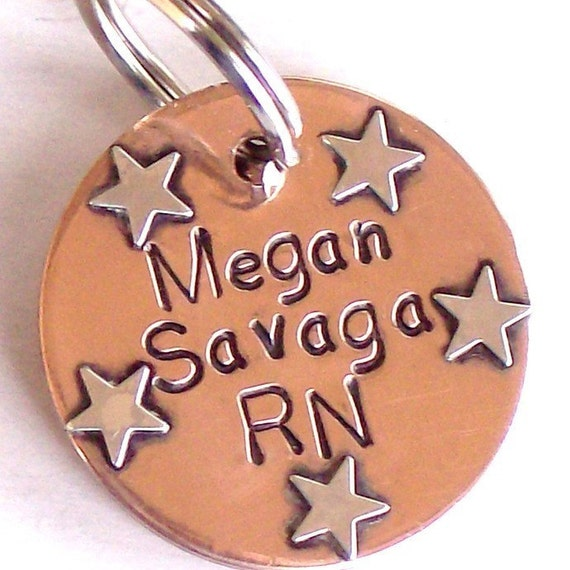 Personalized STETHOSCOPE ID TAG - Handmade Copper and Sterling Silver