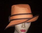 Tangerine Wide Brim with brown trim
