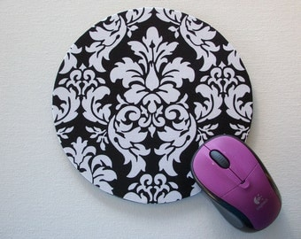 mousepad / Mouse Pad / Mat round or rectangle - Black and White Dandy Damask