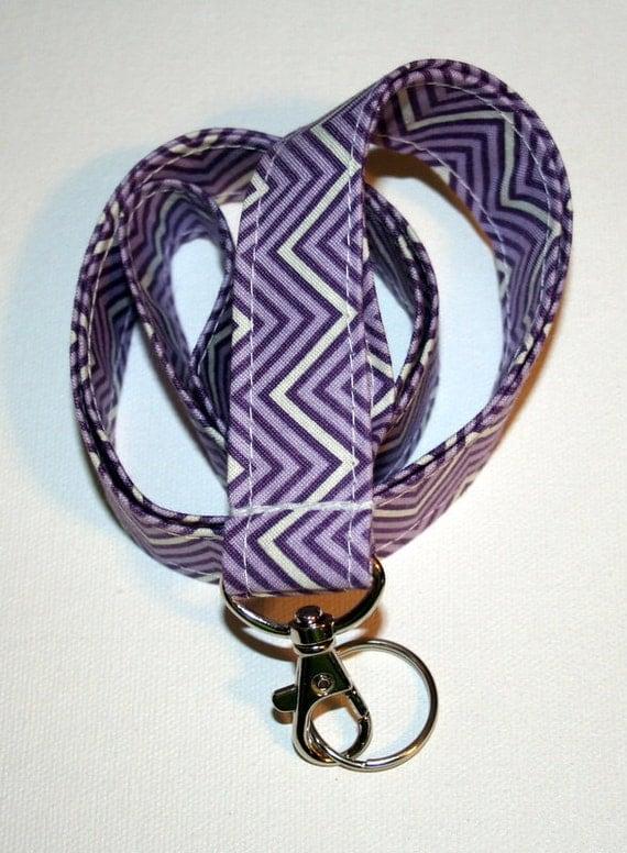 Fabric Lanyard / ID Holder --- lobster claw clasp -- Boho Chevron in Eggplant / Purple