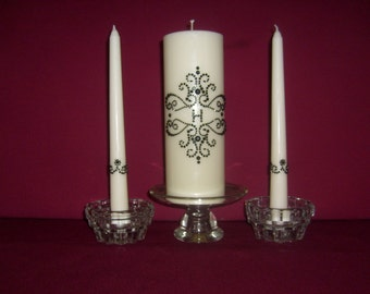Damask Monogram Unity candle set