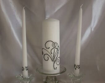 Wedding candle  black swirls and twirl design with tapers to match