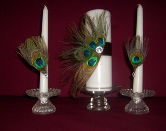 Peacock Feathers Unity Candle  with Matching Tapers