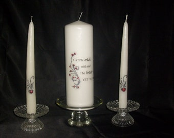 "Unity candle set  ""Grow Old With Me"""