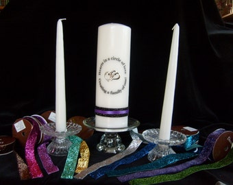 Blended Family Unity Candle Set/ Pillar Candle set with two hearts and sparkle ribbon taper Candles