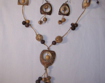 Seed Pod and Coconut Necklace and Earring Set  FREE SHIPPING