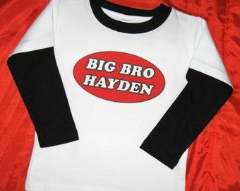 Personalized Big Brother Big Bro Shirt.  Custom Big Brother Shirt. Toddler Big Brother Shirt. Long or Short Sleeves. Big Brother Long Sleeve