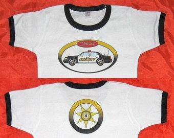 Kids Police Car Birthday Shirt Sheriffs Department Birthday Shirt Personalized. Childs Age Printed Inside Sheriffs Badge on Back.