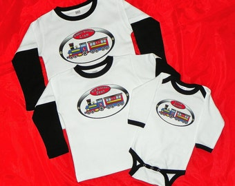Train Big Brother Little Brother Littlest Brother Shirt Set Personalized With Railroad Crossing Sign on Back. Three Siblings Shirts.