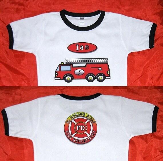 Fire Truck Birthday Shirt Short Sleeves. Fire Engine Birthday Tee Kids. Personalized Birthday Shirt. Fire Department Birthday Shirt Children