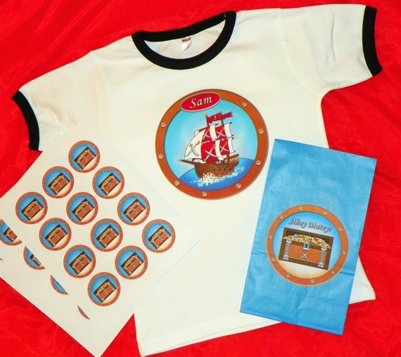 Reserved Listing For Carrie For Custom Pirate Ship Birthday Shirt, Treasure Chest Goody Bags and Treasure Chest Stickers