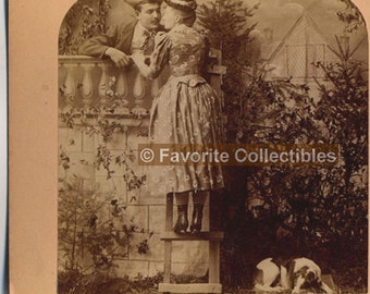 Rare 3D Stereoview Card 1900s Era Romeo & Balcony Sepia Antique Photo from FavoriteCollectibles
