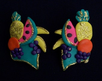 Unique Fruit Earrings Retro Flashy Clay Showy OOAK Handmade Pair from FavoriteCollectibles