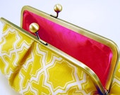 Clutch Purse in Yellow Graphic Design
