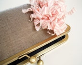 Shimmery Bronze Brown and Pink Flower Clutch Purse Bag for Bridesmaids Weddings