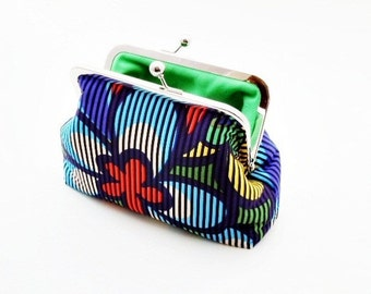 Techno Floral Cosmetic Bag Clutch Purse Small